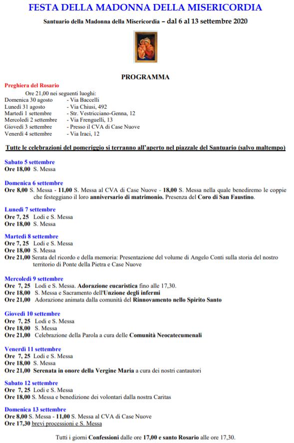 programma Festa della Madonna della Misericordia 2020