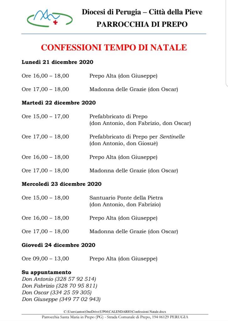 Natale 2020 - Confessioni