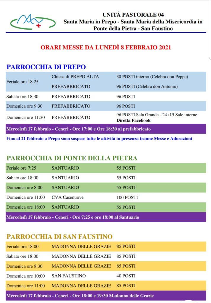 2021.02.08 Calendario Messe dal 8 febbraio 2021